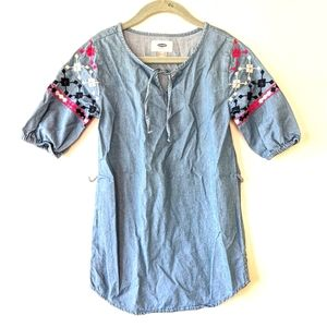OLD NAVY Aztec Embroidered Chambray Tunic Dress